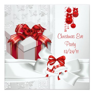 Christmas Eve Party Elegant Lace White Red Ribbon Card