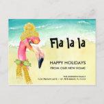 Christmas Flamingo Beach Scene Holiday Moving Announcement Postcard