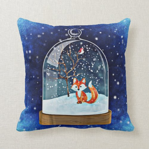 Christmas fox blue pillow