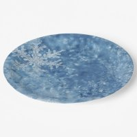 Christmas frozen snowflakes paper plate