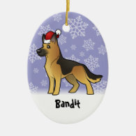 Christmas German Shepherd (add your pets name) Ornament