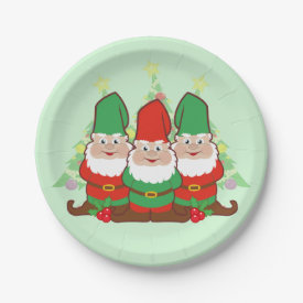 Christmas Gnomes 7 Inch Paper Plate