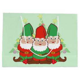 Christmas Gnomes Large Gift Bag