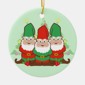 Christmas Gnomes Double-Sided Ceramic Round Christmas Ornament