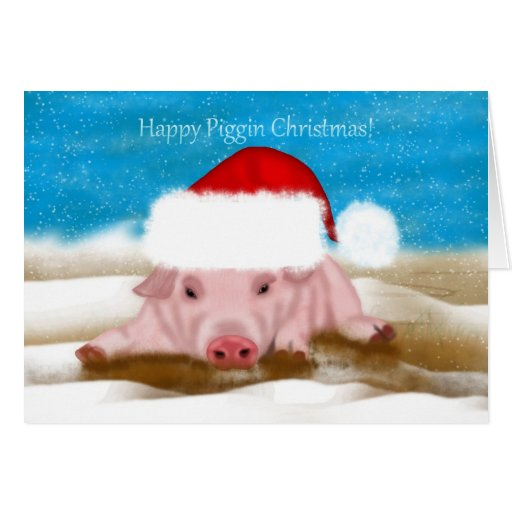 Christmas Greeting Card With Pig In Christmas Hat Zazzle