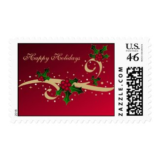 Christmas holly and stars - Postage stamp