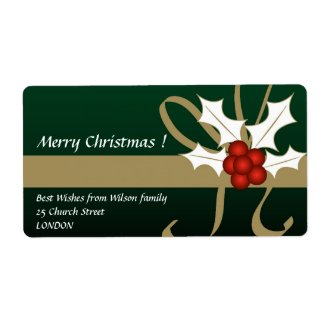 Christmas holly - Label label