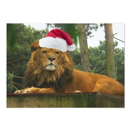 Christmas Lion Wearing Santa Hat Card Zazzle