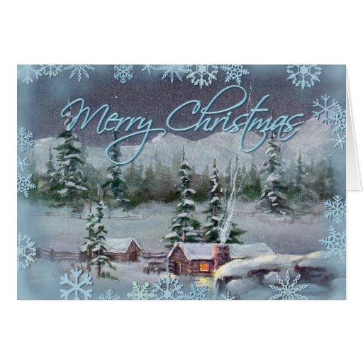 CHRISTMAS LOG CABIN By SHARON SHARPE Card Zazzle