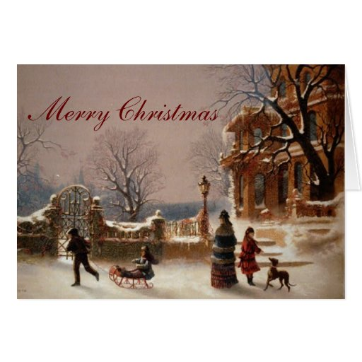 Christmas Morning Snow Vintage Card Zazzle