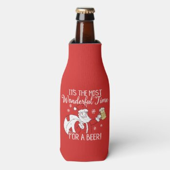 Christmas Most Wonderful Time for a Beer Santa Bottle Cooler