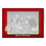 Christmas on Red (wide photo frame) Cards