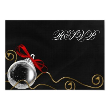 Christmas Ornament Red Bow RSVP Card