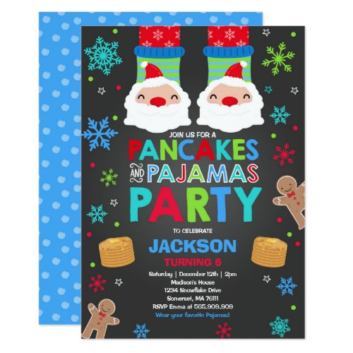 Christmas Pancakes And Pajamas Invitation Santa