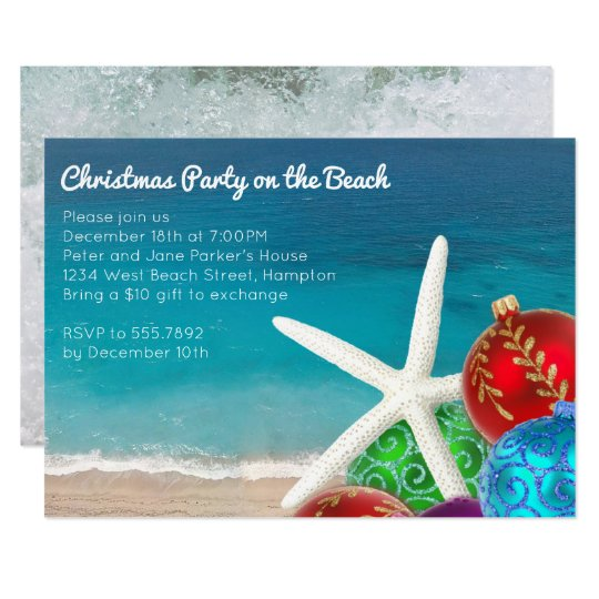 Christmas Party On The Beach Invitation