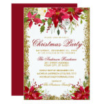 Christmas Party Red Poinsettia Floral Gold Glitter Invitation