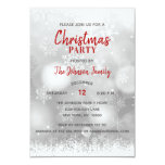 CHRISTMAS PARTY Red Silver White Snowflakes Snow Invitation