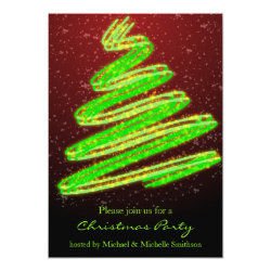 Christmas Party Wavy Green Modern Tree Announcement