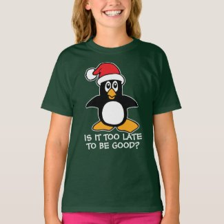 Christmas Penguin Is it too late to be good Dark T-Shirt