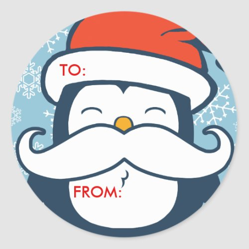 Christmas Penguin Mustache Trend Gift Tags