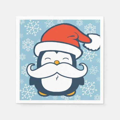 Christmas Penguin Mustache Trend Napkins