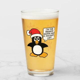 Christmas Penguin Santa Naughty List Glass
