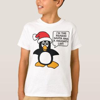 Christmas Penguin Santa Naughty List T-Shirt