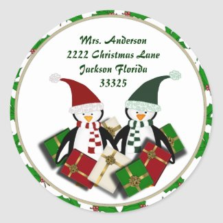 Christmas Penguins and Address Stickers