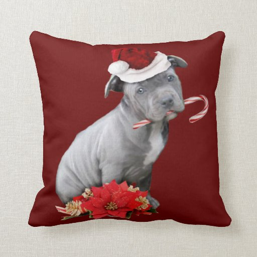 Christmas pitbull puppy pillow  Zazzle