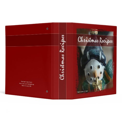 Christmas Recipes - Snowman Binder binder
