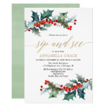 Christmas red greenery gold sip see meet greet invitation