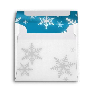 Christmas Snowflakes Blue Envelope