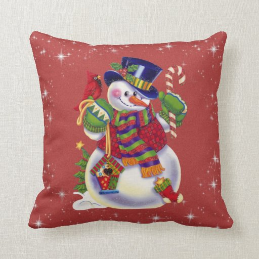 Christmas Snowman Pillow  Zazzle