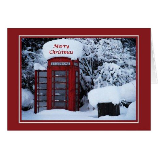 Christmas Snowy English Phone Box Card Zazzle
