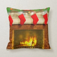Christmas Stockings and Fireplace Throw Pillow