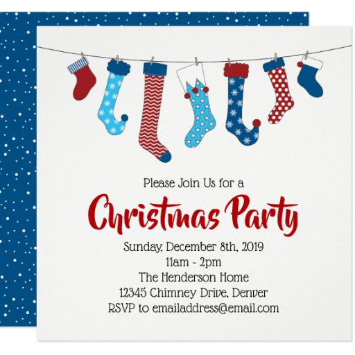 Christmas Stockings Holiday Party Invitation