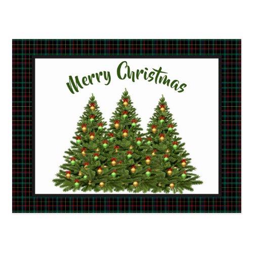 Christmas Tartan with Holiday Tree Postcard