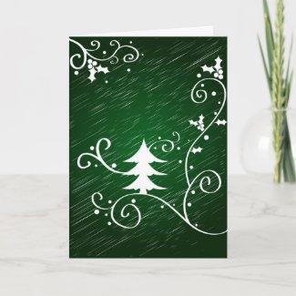 Christmas tree and holly - Card card
