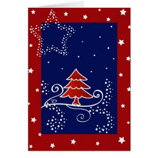 Christmas tree and stars - Card card