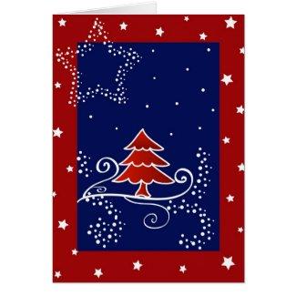 Christmas tree and stars - Card card
