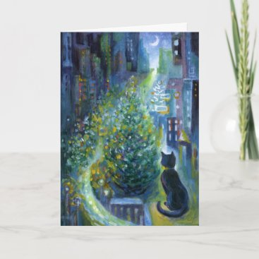 Christmas Tree Balcony View Cat Holiday Card