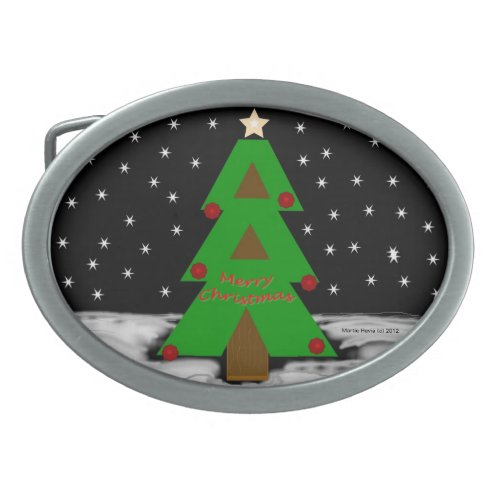 Christmas Tree Night Belt Buckle