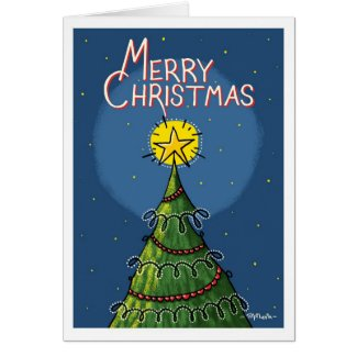 Christmas Tree With Shining Star on Top Greeting Card
