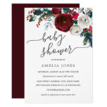 Christmas Watercolor Floral Baby Shower Invitation