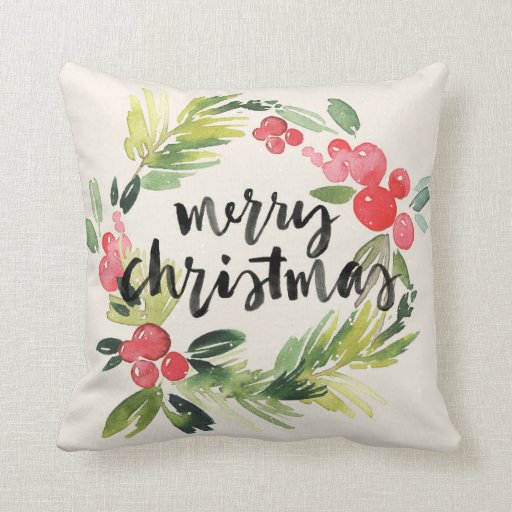 Christmas | Watercolor - Merry Christmas Wreath Throw Pillow