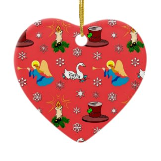 Christmas – White Swans & Brown Top Hats ornament
