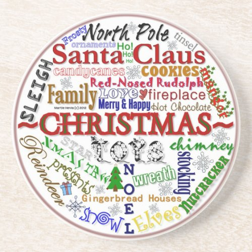 Christmas Word-Art - Coaster