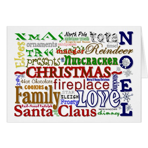 Christmas Word-Art - Customizable Card