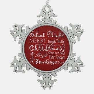 Christmas Word Art Snowflake Ornament