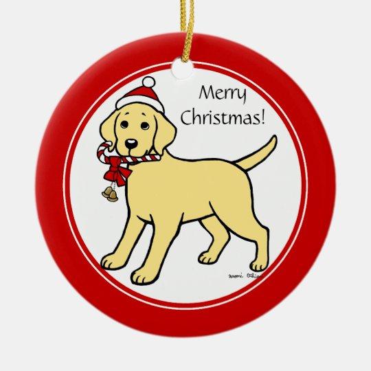 Christmas Yellow Labrador Puppy Cartoon Ceramic Ornament